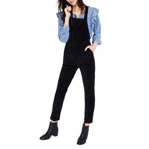 Madewell velvet overalls black